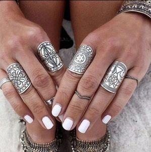 Jewelry - NEW SET OF 4 BOHO GYPSY SILVER CUFF RINGS